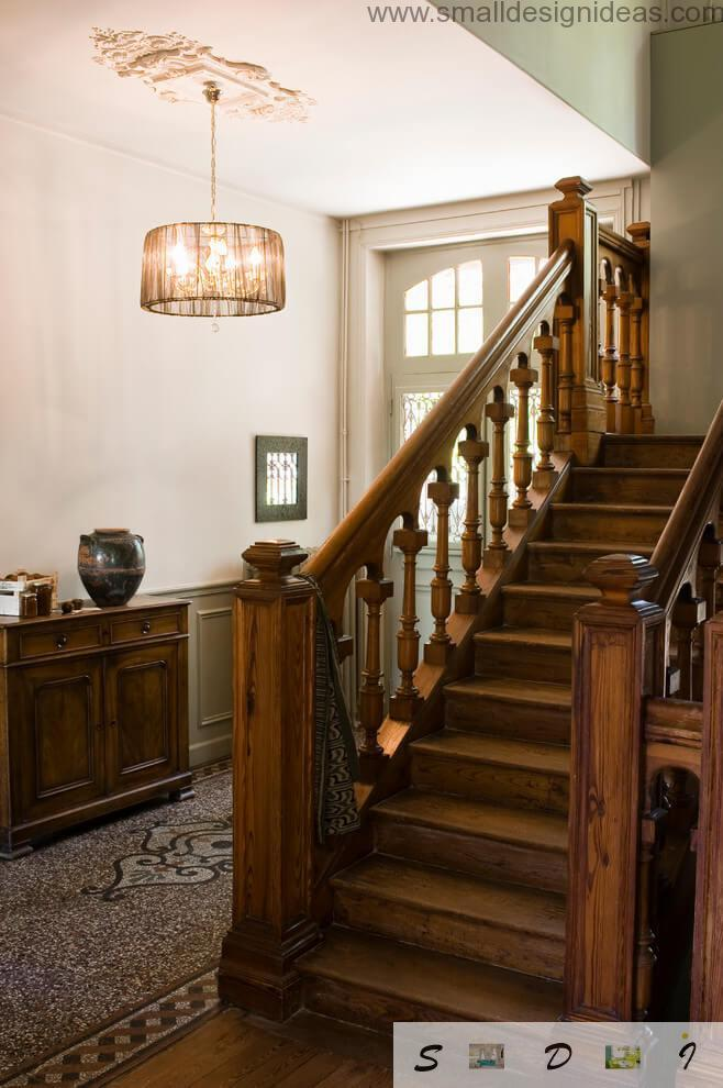 Staircase of wood in the Country style house