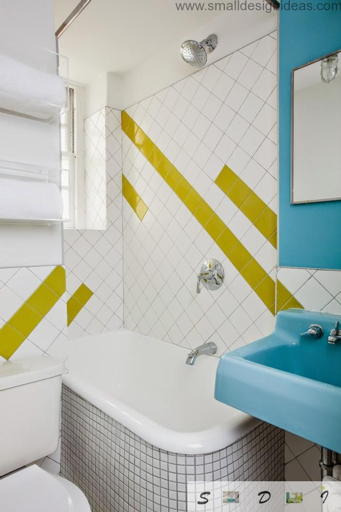 Good design idea of lines painted on the wall surface in the bath