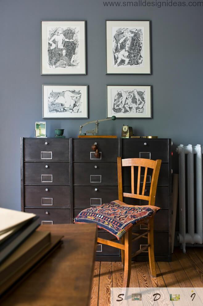 Pictures and cabinets in the country style house study