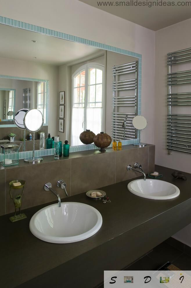 Two sinks in the private house of Country style