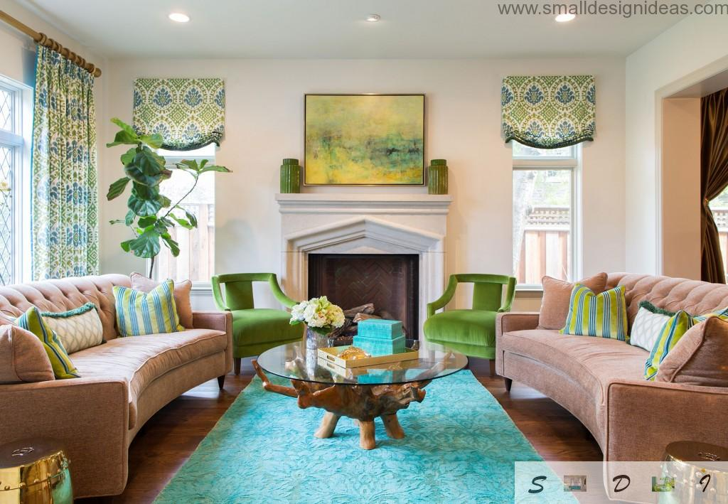 Original green colors in the bright vintage living interior