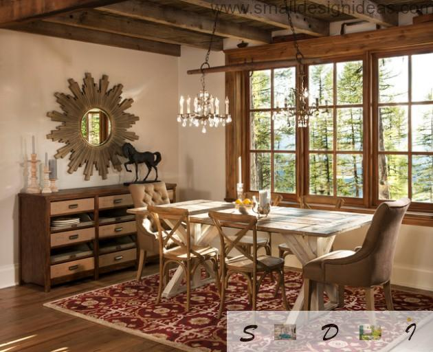 Horse statuette emphasize luster and restraint of the country style atmosphere in the dining room