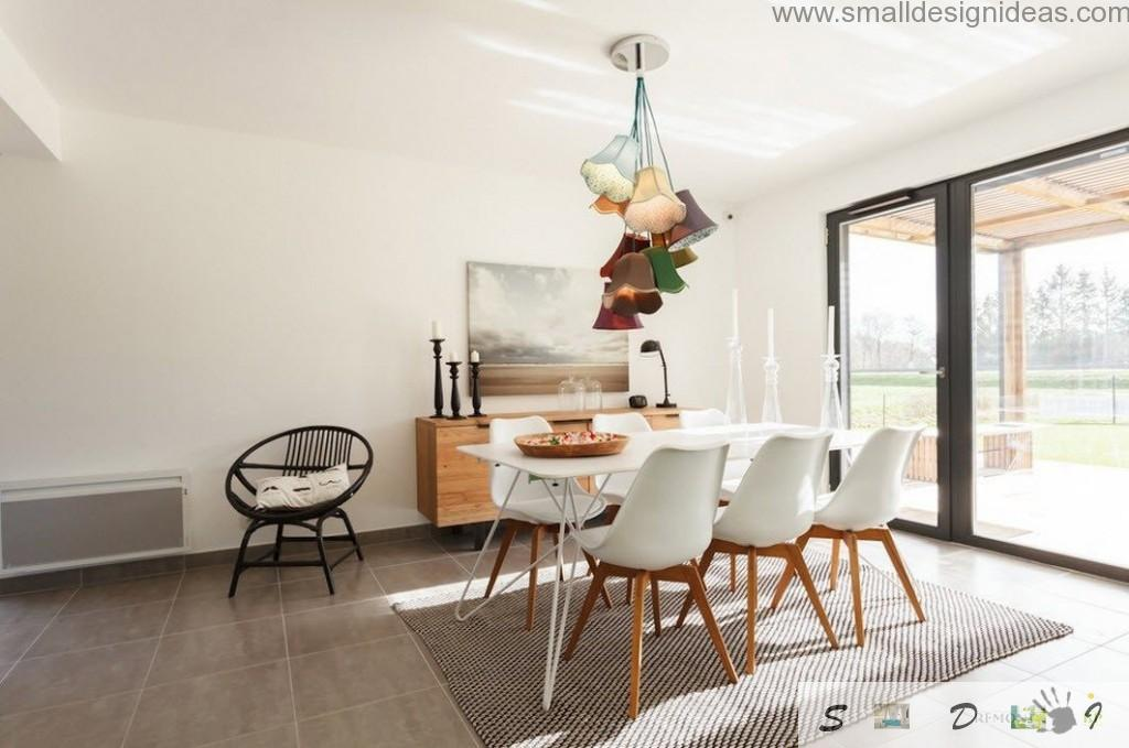 White and green combination as the interior design idea for modern country house