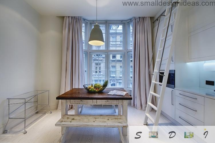 Small kitchen with the ladder