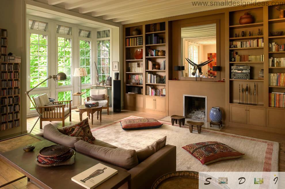 Unusual design and plenty of design elements in cool eco living room if the private house