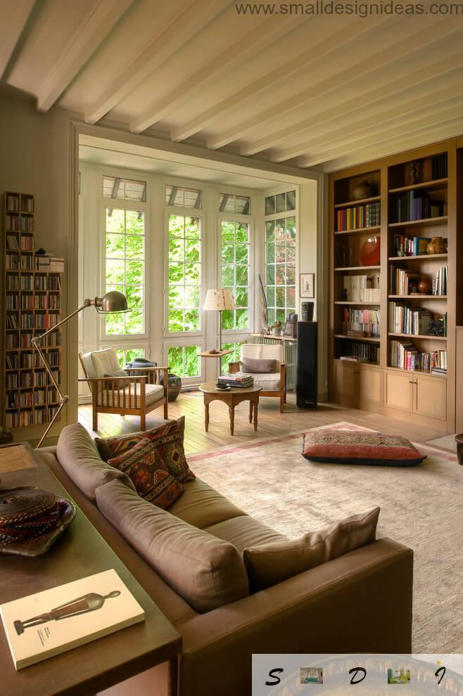 Light stuffed living room with reading zone in the country private house