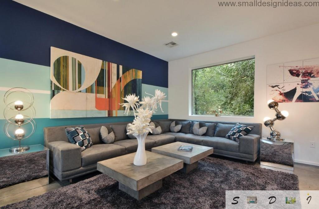 Bright colorful ideas for strict living room with flower motiff
