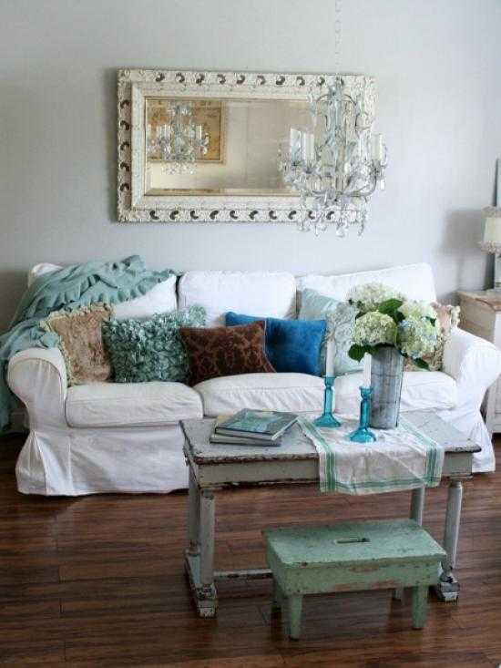 Gray designed living room with noble dark hardwood floor