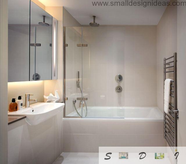 Gray creamy color scheme for the hi-tech modern bathroom design