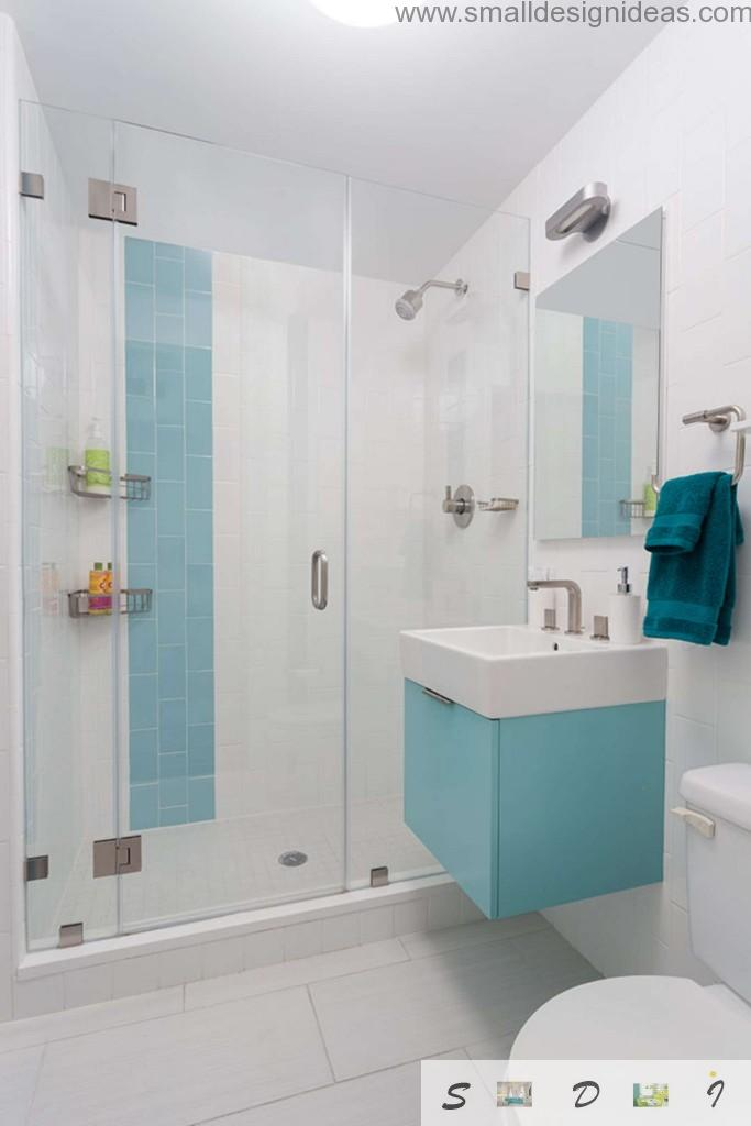 Another built-in design of the toilet tank in the extra small but bright and active bathroom design