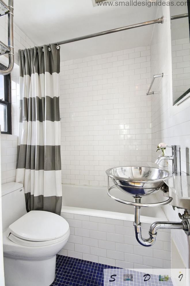 Extra Small Bathroom Design Ideas with glossy surfaces mix of metal and tile
