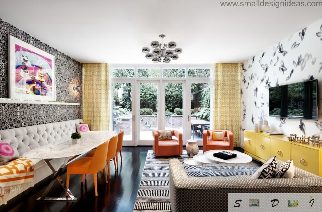Bright orange interior living room