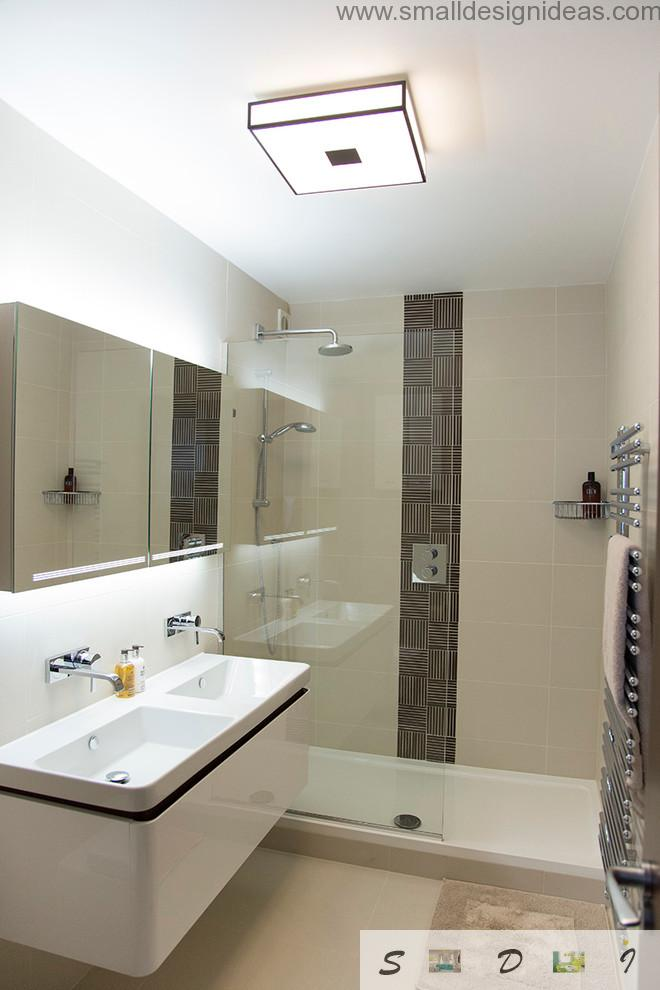 Classic and hi-tech mix styles in the modest sized bathroom
