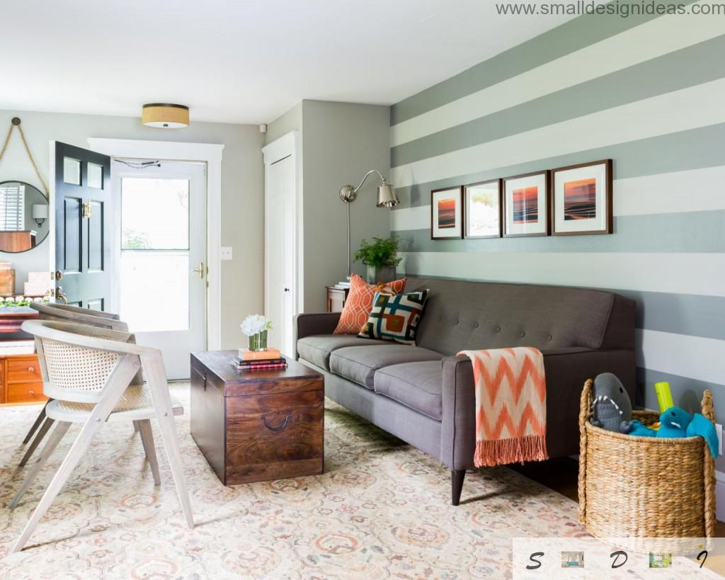 Bright Colorful Living Room Paint Ideas. Bright vertical stripes on the walls of the living