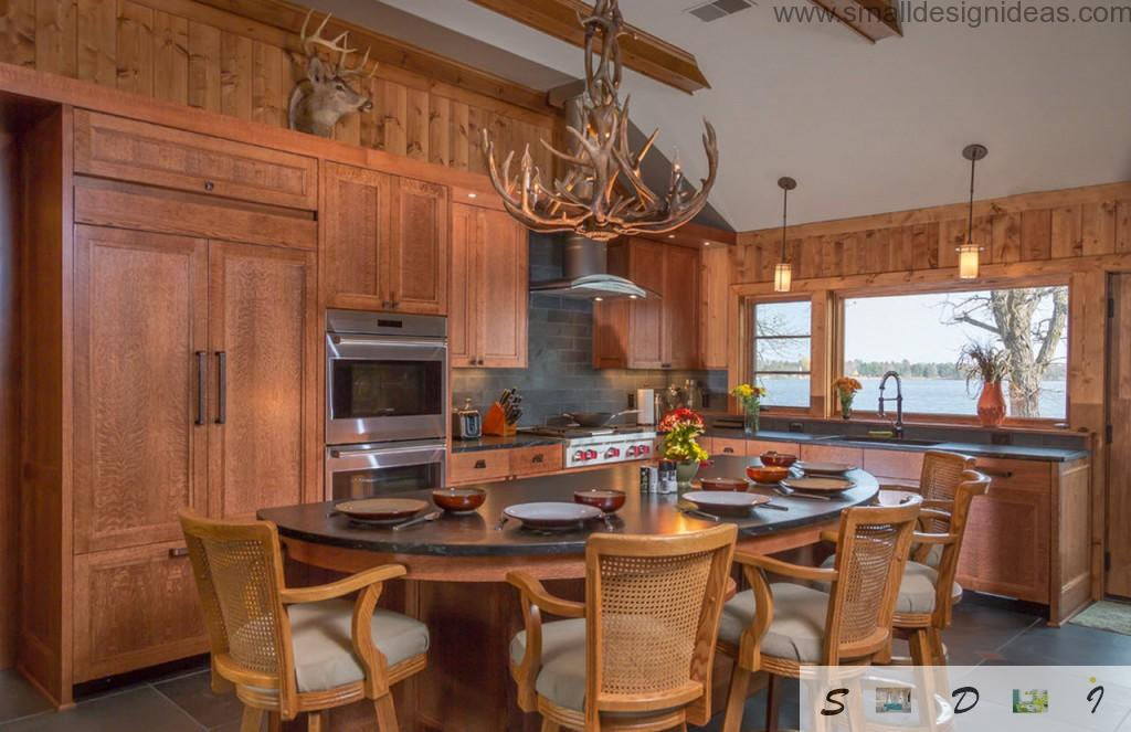 Unusual kitchen set and atmosphere in the country style with antlers-lamp
