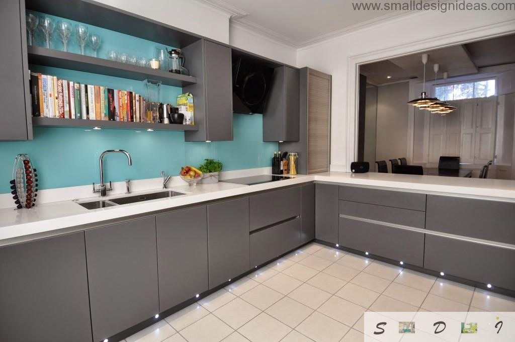 Ikea design kitchen in gray steel color