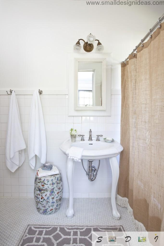 Classic, vintage and even rustic style notes in the modern bathroom design