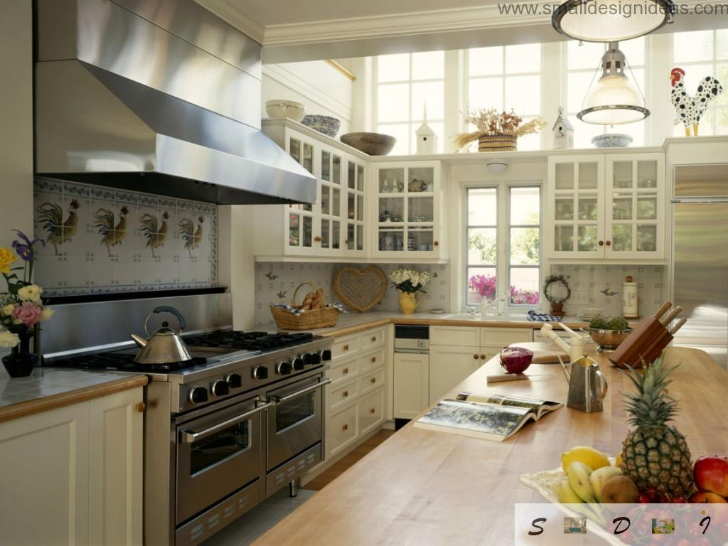 Retro, almost Provence or vintage kitchen with lots of stuff and furniture looks harmonious