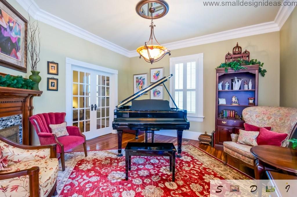 red carpet and piano for the creative living room