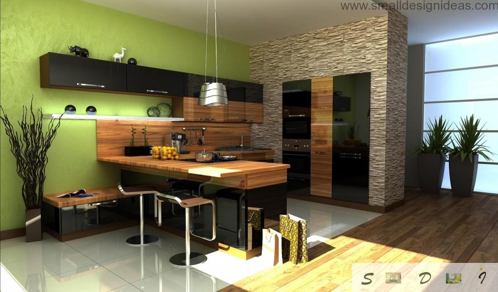 Kitchen Walls Color Ideas. Nice hi-tech solution for the kitchen with pistachio wall