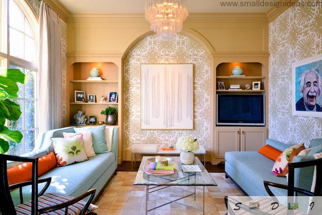 Unusual bright interior of the creative apartment