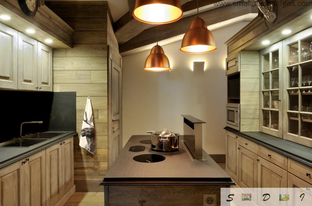 Penthouse rustic kitchen with pendant golden lamps