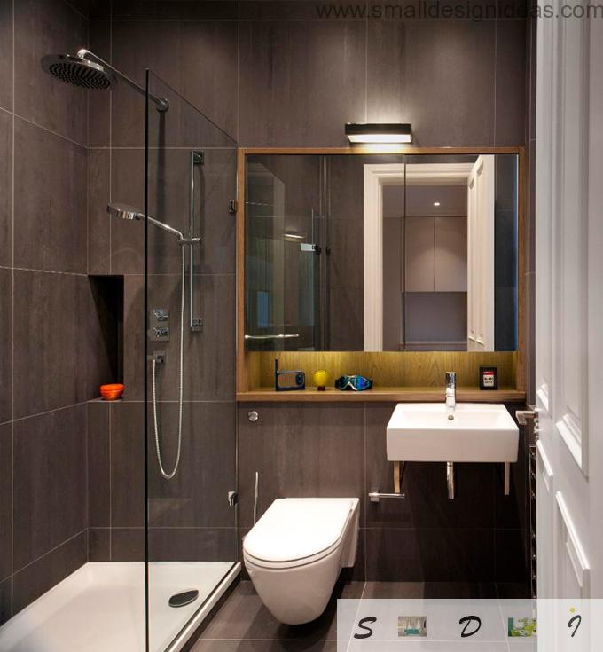 Dark brown design idea for small bath