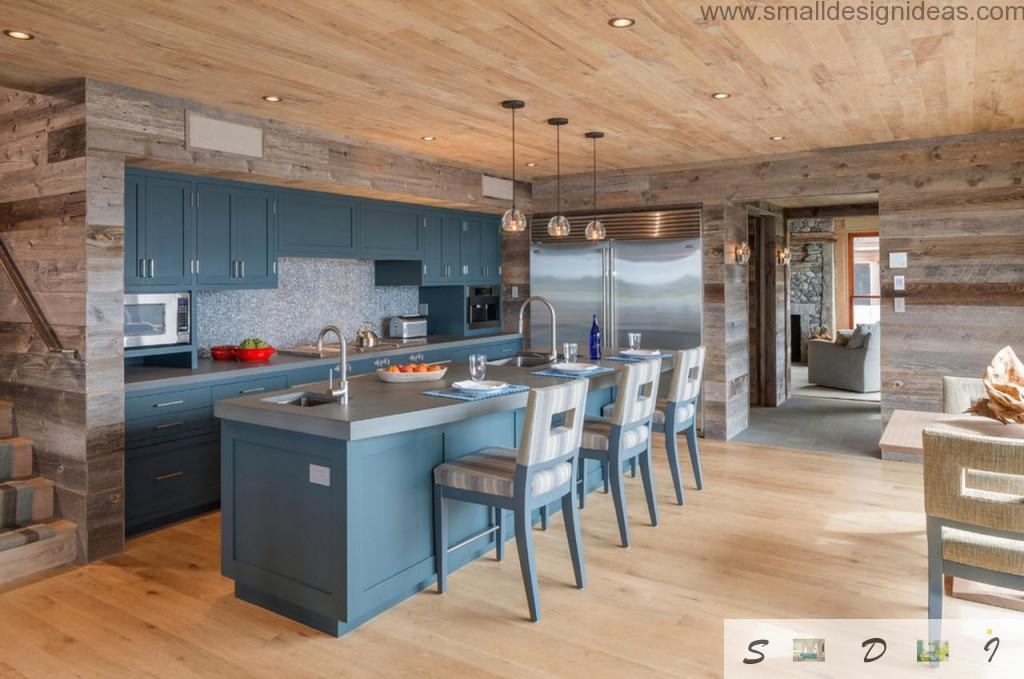 The Nest Vineyard Haven, Massachusetts United-States. Peculiar combination of furniture color in the rustic kitchen