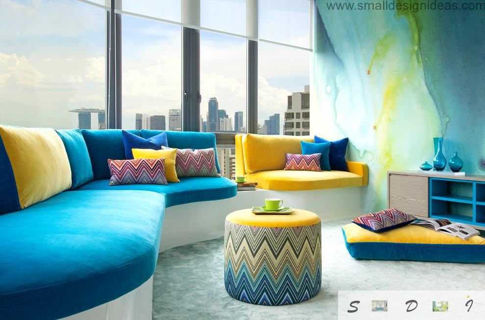 Bright aspid color gradients as the paint ideas for livings