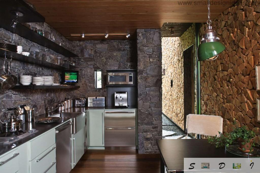 Dark stone trim for kitchen as one of the Middle and Large Kitchen Color Schemes