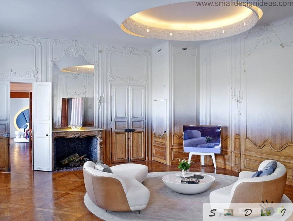 Unusual futuristic white and wooden gradient of colors in originally formed room with circle pendant ceiling