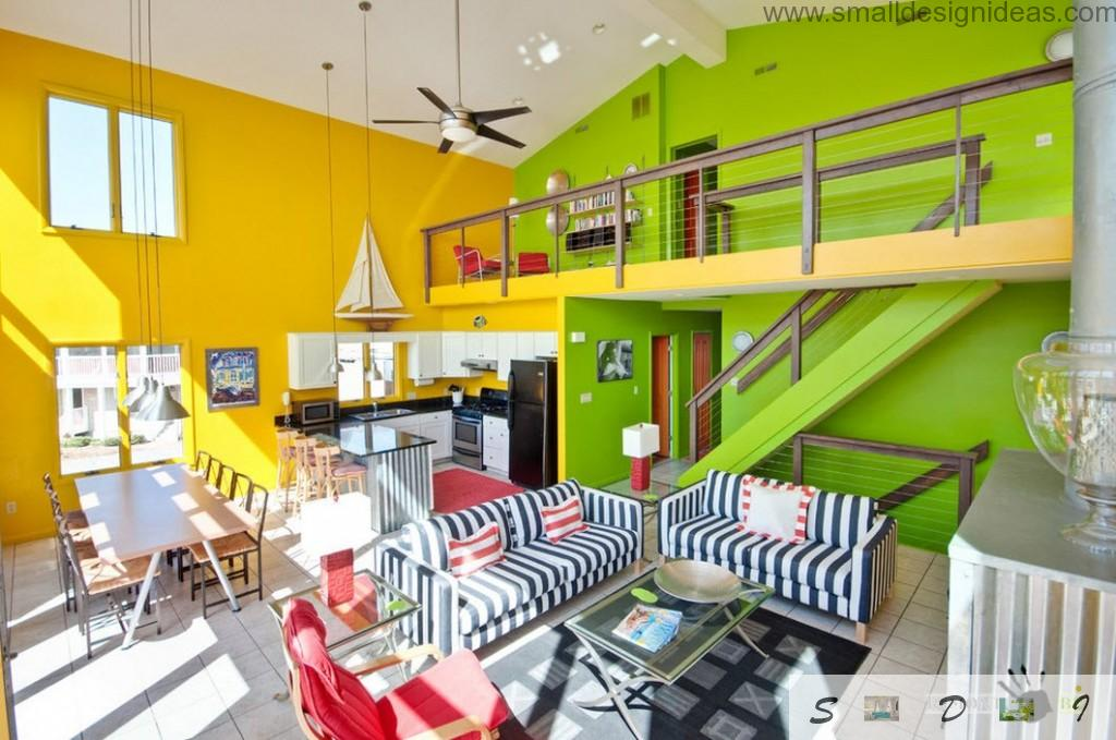Green and yellow ultrabright combination in the spacious living room