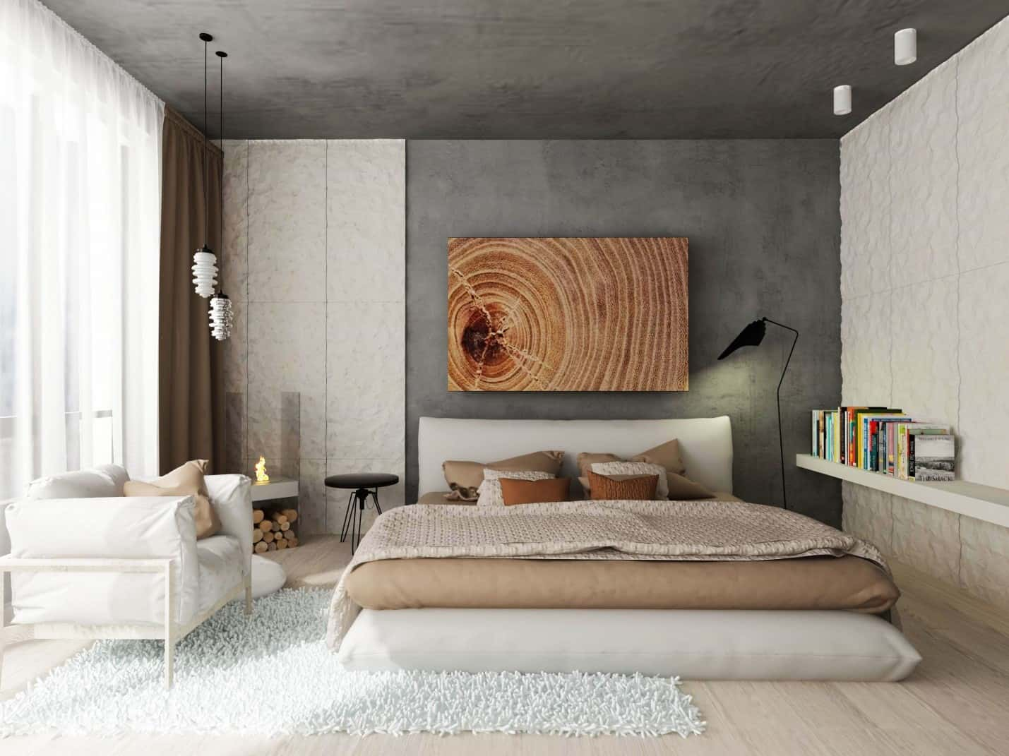 Casual interior combining a lot of design approaches from smooth concrete wall to platform bed with thick matress in Oriental style