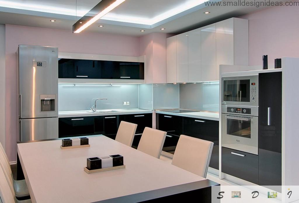 Silver and black combintaion of colors in the minimalistic kitchen of 12 square meters area