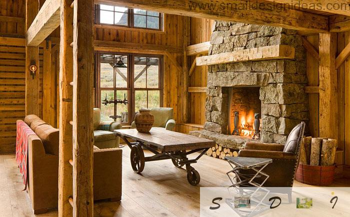 Country Style Furniture Design Ideas Concluded In Wooden Table And Stone  Trim