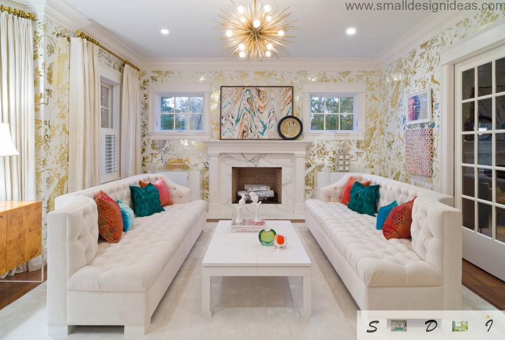 Bright cushions as the design pattern for light joyful living room