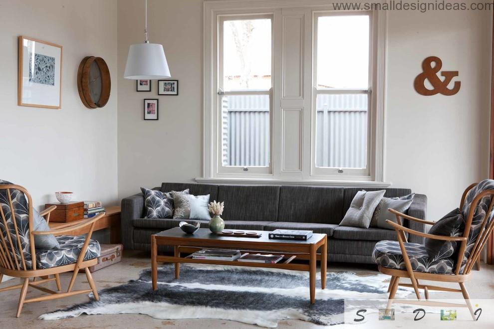 Middle Size Living Room Color Ideas. Country house living room desgign in classic style with creative elements