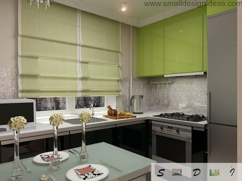 Modern Middle Size Kitchen Remodel Ideas. Green Roman blinds are best at the middle sized kitchen