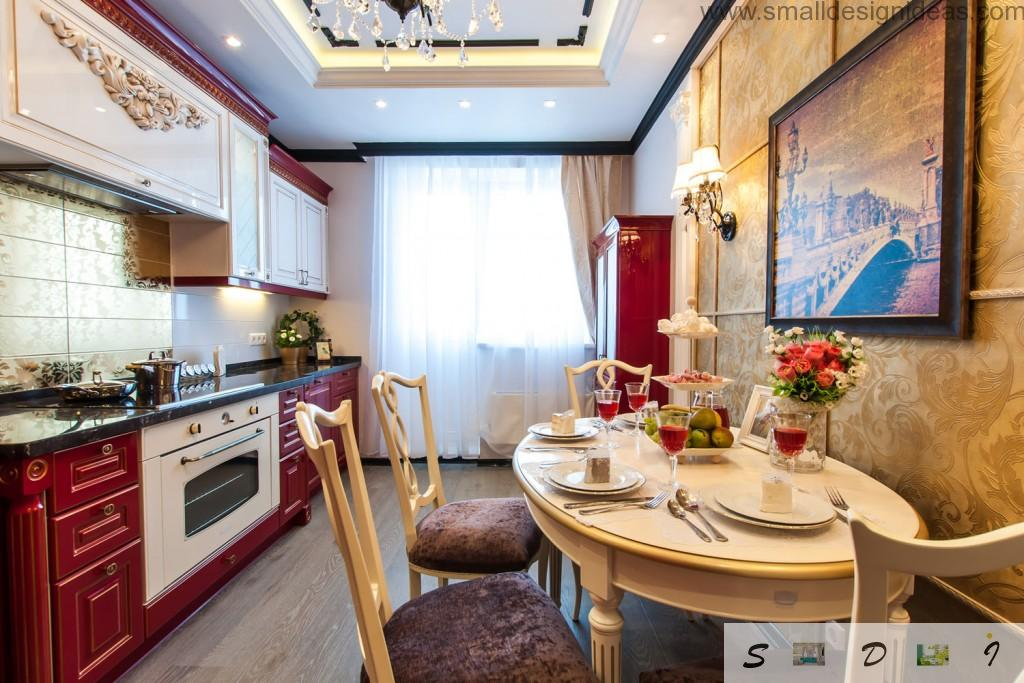 Classic pompous but dignified style with restrained color theme for kitchen
