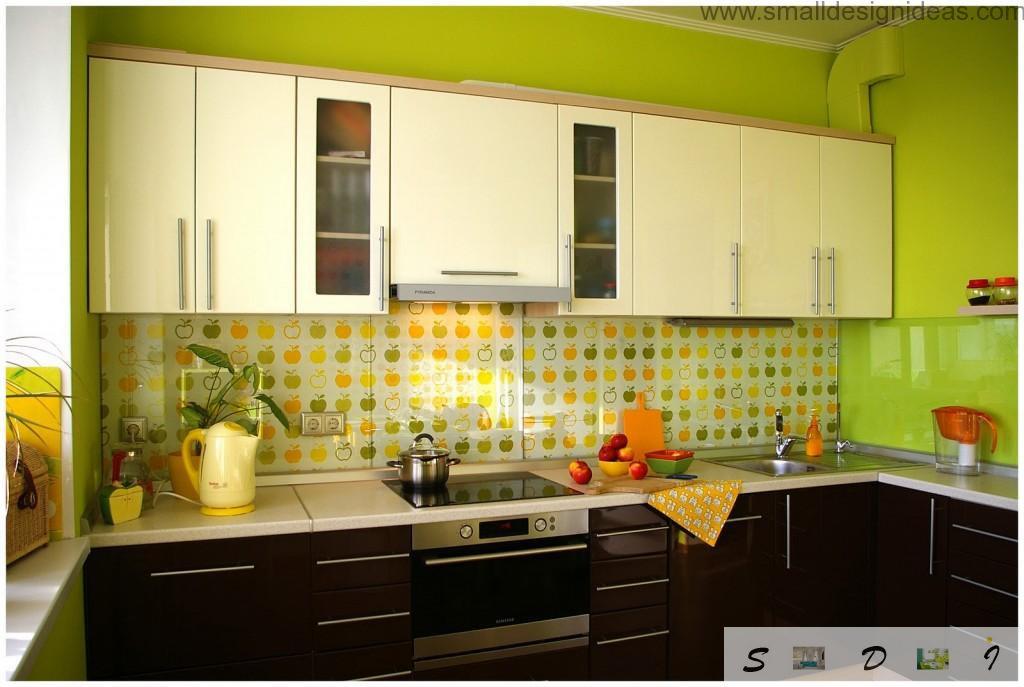 Mellow lime color of the walls emphasizes the vavicity of the kitchen atmosphere