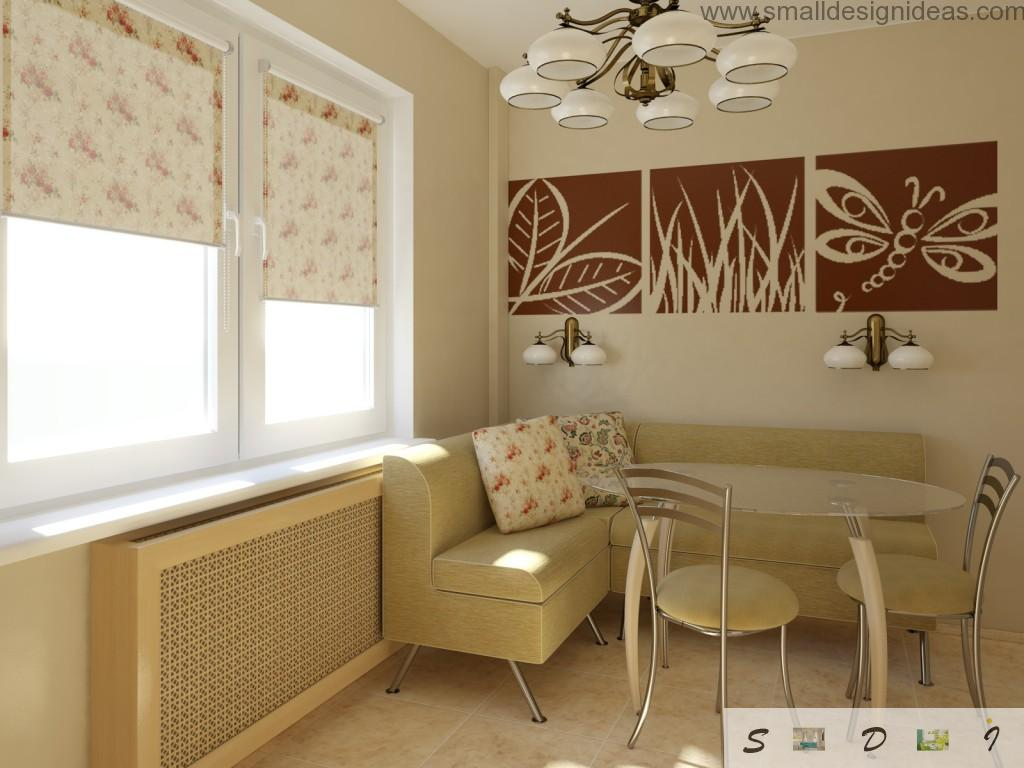 Fresh design of the kitchen with Oriental motiffs and soft furniture, pictures and roller blinds