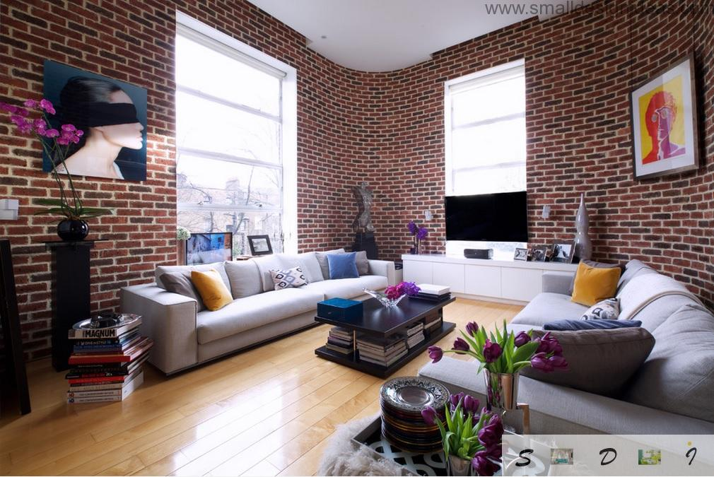 Middle Size Living Room Color Ideas. Brickwork in the living room is ageless classical method