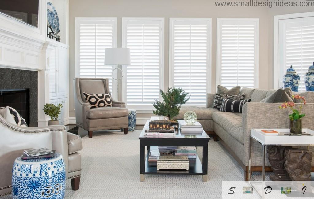 Leather upholstered furniture and Venetian blinds for light living room design idea