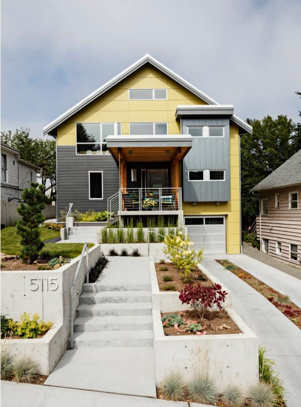 Modern House Exterior Design with Pictures. Yellow and black designed house