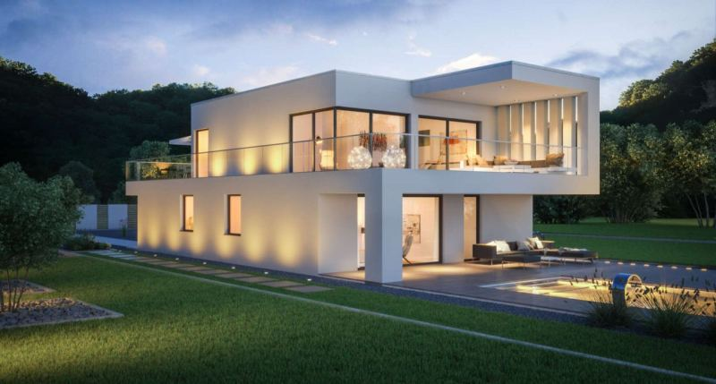 Modern House Exterior Design with Pictures. White smooth facades of the house with flat roof