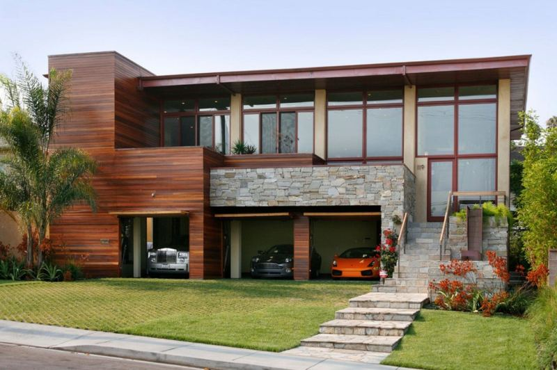 Modern House Exterior Design with Pictures. Mixed materials for stone-and-wood striking facade