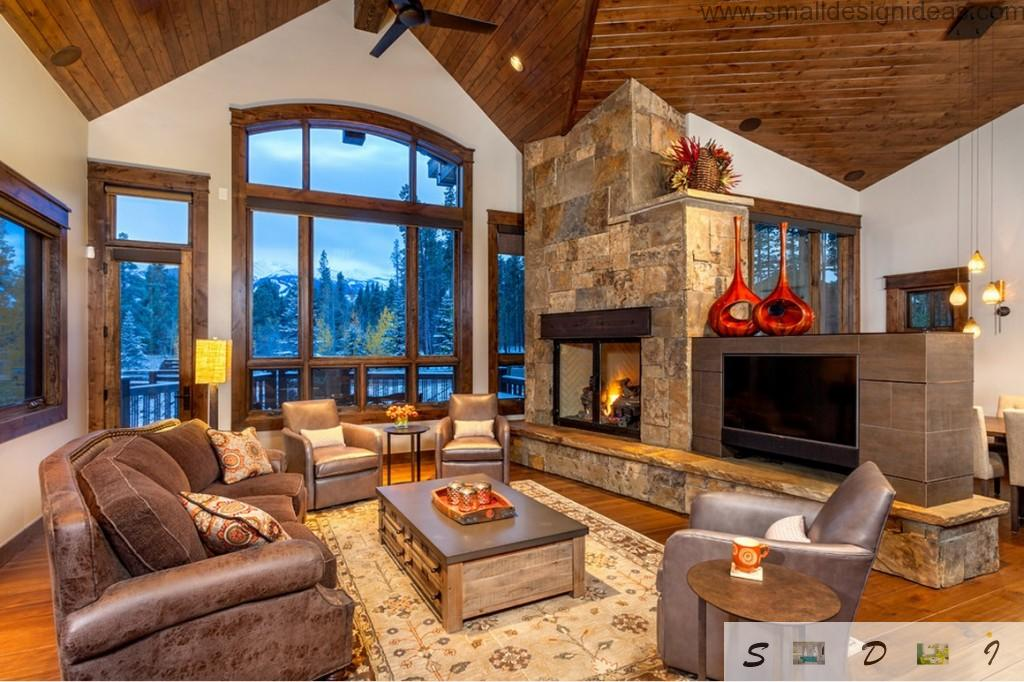 Cozy rustic interior thanks to natural materials and leather furniture