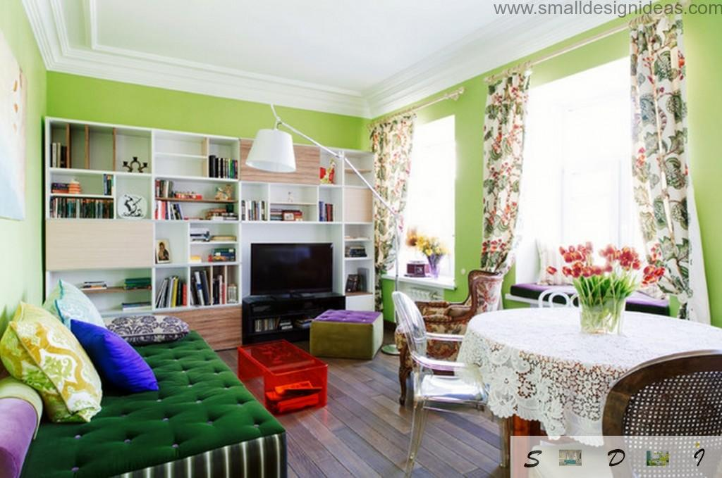 Bright colorful trim and furniture make the living room very sanguine and joyful