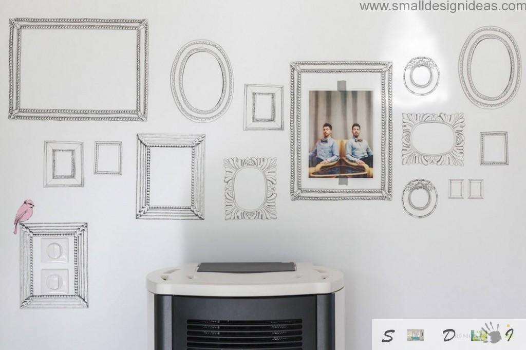 Creative photo wall in the modern country house