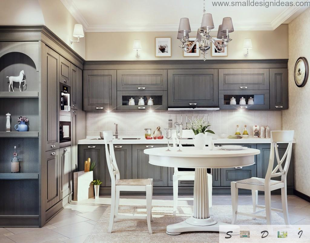 Gray royal color theme for the kitchen